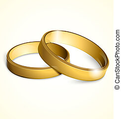 dorado, vector, anillos, boda