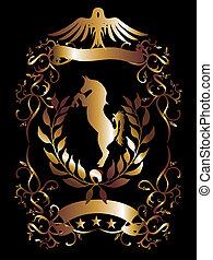 dorado, vector, arte, protector, águila