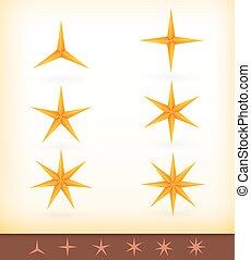 dorado, vector, brillante, estrellas, colección