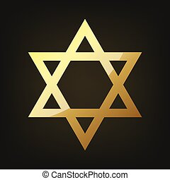 dorado, vector, estrella, david., ilustración