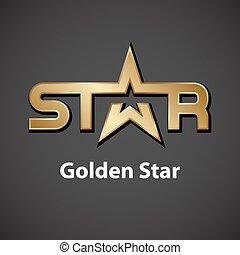 dorado, vector, estrella