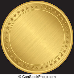 dorado, vector, medalla