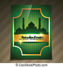 dorado, vector, ramadan, plantilla