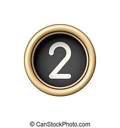 dorado, vendimia, button., número, 2., máquina de escribir
