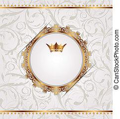 dorado, vendimia, con, heráldico, corona, seamless, floral, textura