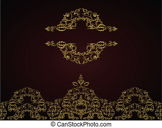 dorado, vendimia, ornamento, fondo., victoriano, vector.