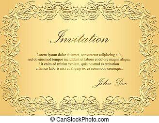 dorado, vendimia, patrón, lujo, invitación, floral
