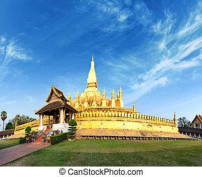 dorado, viaje, phra, pagoda, señal, laos, wat, luang