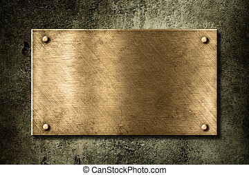 dorado, viejo, placa, pared, o, bronce