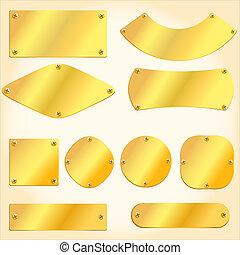 dorado, viejo, signboards, placas