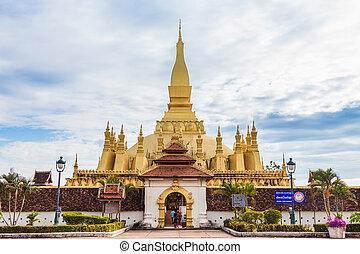 dorado, vientiane, luang, phra, pagoda, laos., wat
