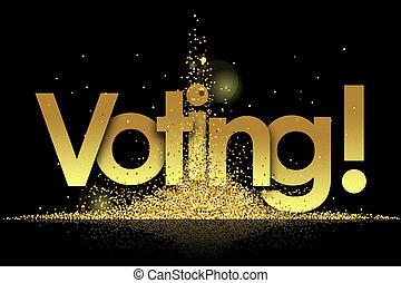 dorado, votación, estrellas, plano de fondo, negro