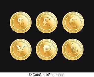 dorado, yen, libra, coins, riyal, peso, moneda, dólar, euro