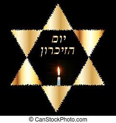 dorado, yom, 27, abrasador, oro, inscripción, judío, january., azikaron, star., holocausto, ilustración, memory., vector, candle., hebreo, recuerdo, internacional, traducción, día