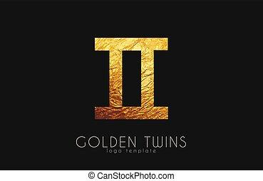 dorado, zodíaco, twins., gemelos, signo.