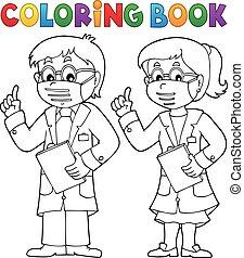 doradzając, książka, kolorowanie, dwa, leczy