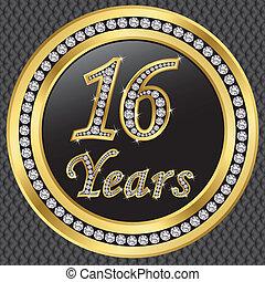 dorato, 16, anniversario, illustrazione, anni, vettore, diamanti, icona