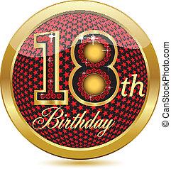 dorato, 18, th, compleanno, bottone