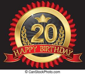 dorato, 20, labe, anni, compleanno, felice