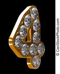 dorato, 4, numerale, incrusted, con, diamanti