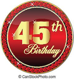 dorato, 45, th, compleanno, bottone