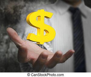 dorato, affari, dollaro, mano uomo, segno