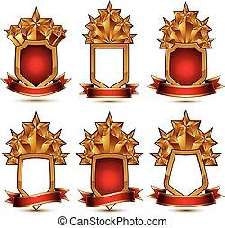 dorato, affascinante, set, lucidato, protezione, fondale, collection., bianco, isolato, stelle, ribbon., simboli, vettore, cinque, stelle, geometrico, branded, elementi, schermi, rosso, 3d