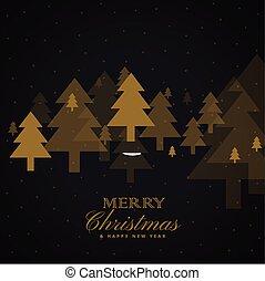 dorato, albero, disegno, fondo, nero, natale