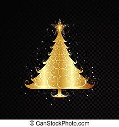 dorato, albero, isolato, disegno, fondo, nero, natale