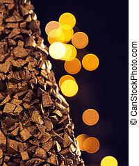dorato, albero, luci natale, sfocato