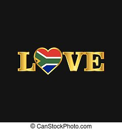 dorato, amore, africa, tipografia, bandiera, vettore, disegno, sud