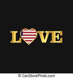 dorato, amore, liberia, tipografia, bandiera, vettore, disegno