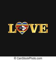 dorato, amore, tipografia, bandiera, vettore, disegno, swaziland
