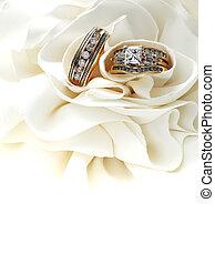 dorato, anelli, matrimonio