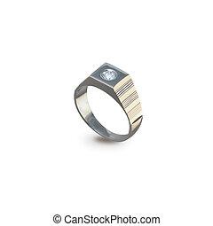 dorato, anello, uomini, diamante