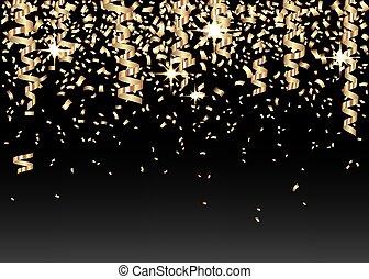 dorato, anno nuovo, fondo, natale, o, confetti., 2020, ...