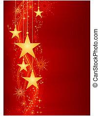 dorato, appendere, stelle, su, sfondo rosso, con, grunge, elementi