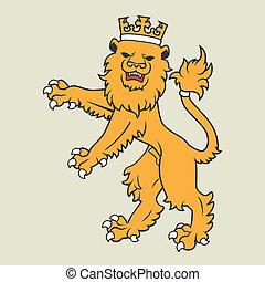dorato, araldico, leone