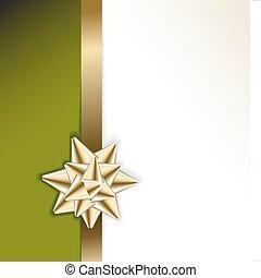 dorato, arco, su, uno, nastro, con, sfondo verde