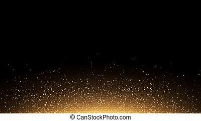 dorato, ardendo, polvere, su, uno, nero, fondo., controluce, da, il, bottom., sagoma, per, il, project., scintilla, punti, rotondo, orpello, elementi, celebrazione, fondale, grafico, design., vettore