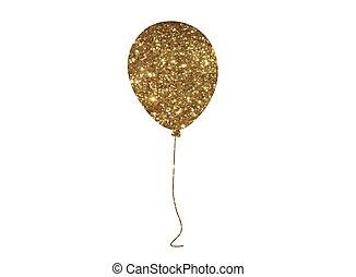 dorato, assemblea, balloon, isolato, aria, vettore, disinserimento, brillare, evento