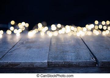 dorato, astratto, macchia, sfocato, luci, legno