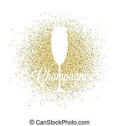 dorato, astratto, vetro, vettore, champagne, brillare