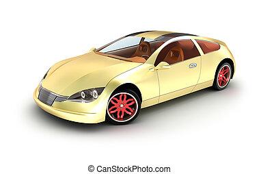 dorato, automobile, concept., mio, proprio, design.