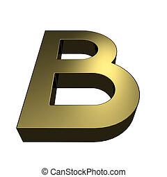 dorato, b, -, reso, lettera, font, 3d