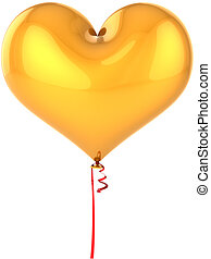 dorato, balloon, come, forma cuore