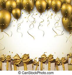 dorato, balloons., celebrare, fondo