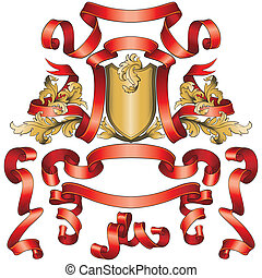 dorato, bandiere, scudo, collezione, rosso