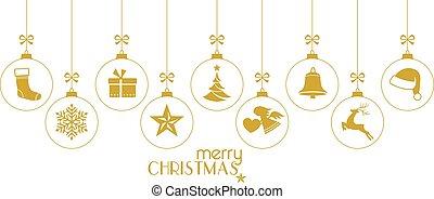 dorato, baubles, bianco, ornamenti, natale