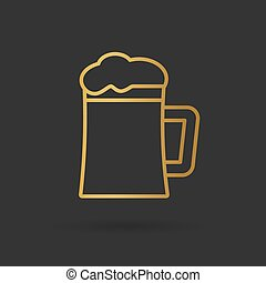 dorato, birra, vettore, icon-, illustrazione, pinta